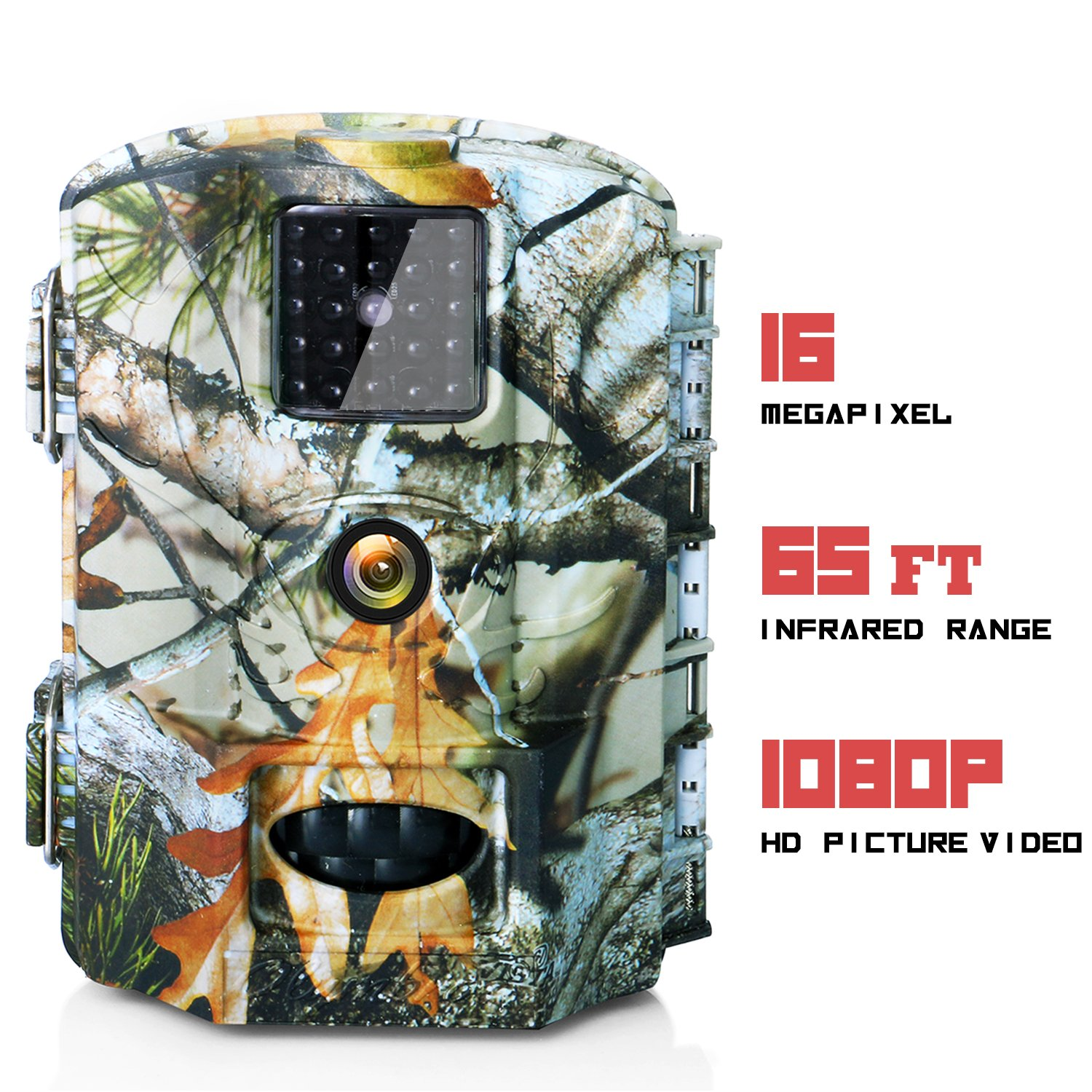 Olymbros Trail Camera 16MP Game Deer Hunting Cams Motion Activated Night Vision 65ft/20m No Glow IR LEDs IP65 Waterproof for Wildlife Scounting Home Security Outdoor Surveillance