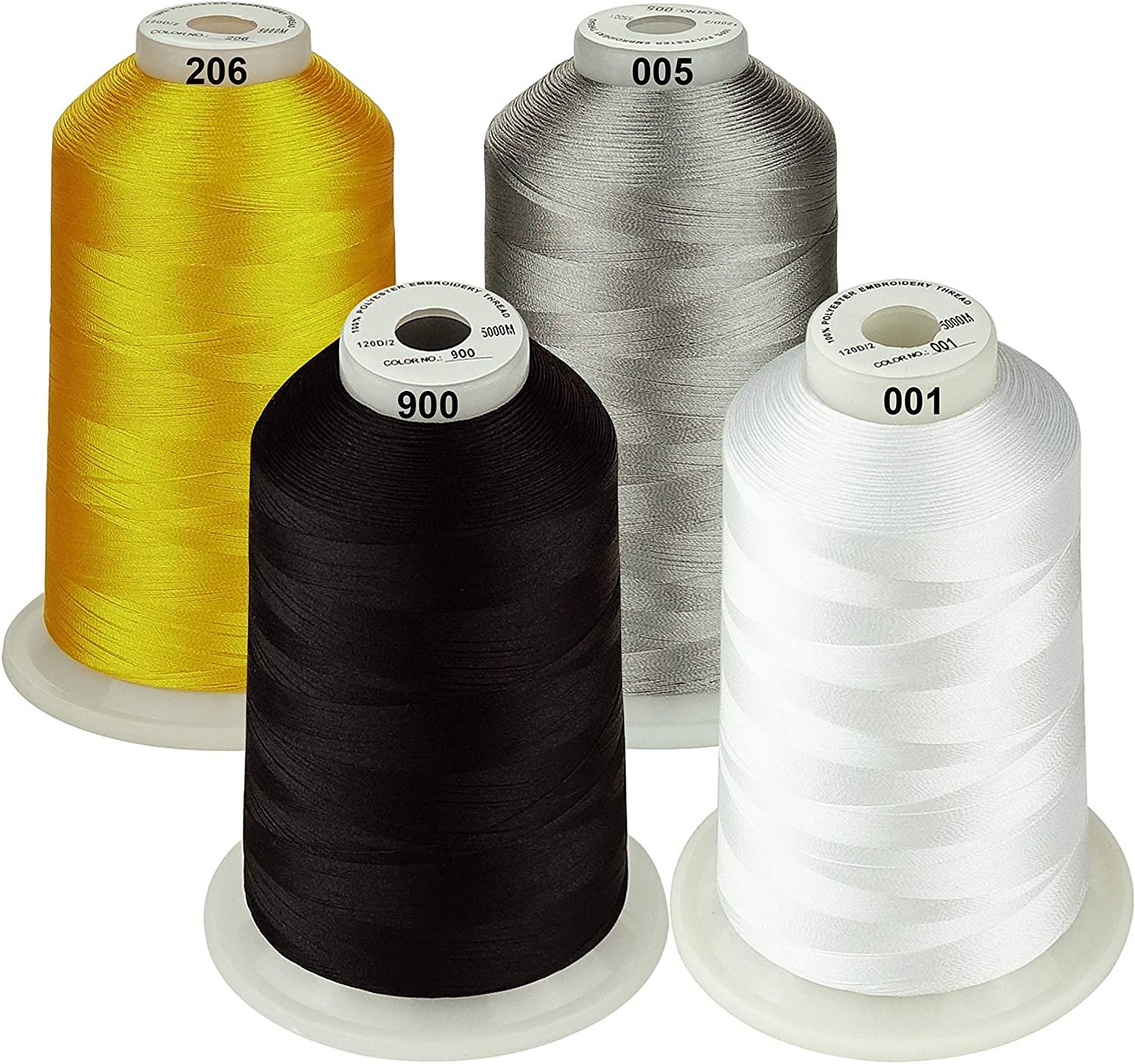 Black White Gold Silver Simthread 42 Options Various Assorted Color Packs of Polyester Embroidery Machine Thread Huge Spool 5000M for All Embroidery Machines