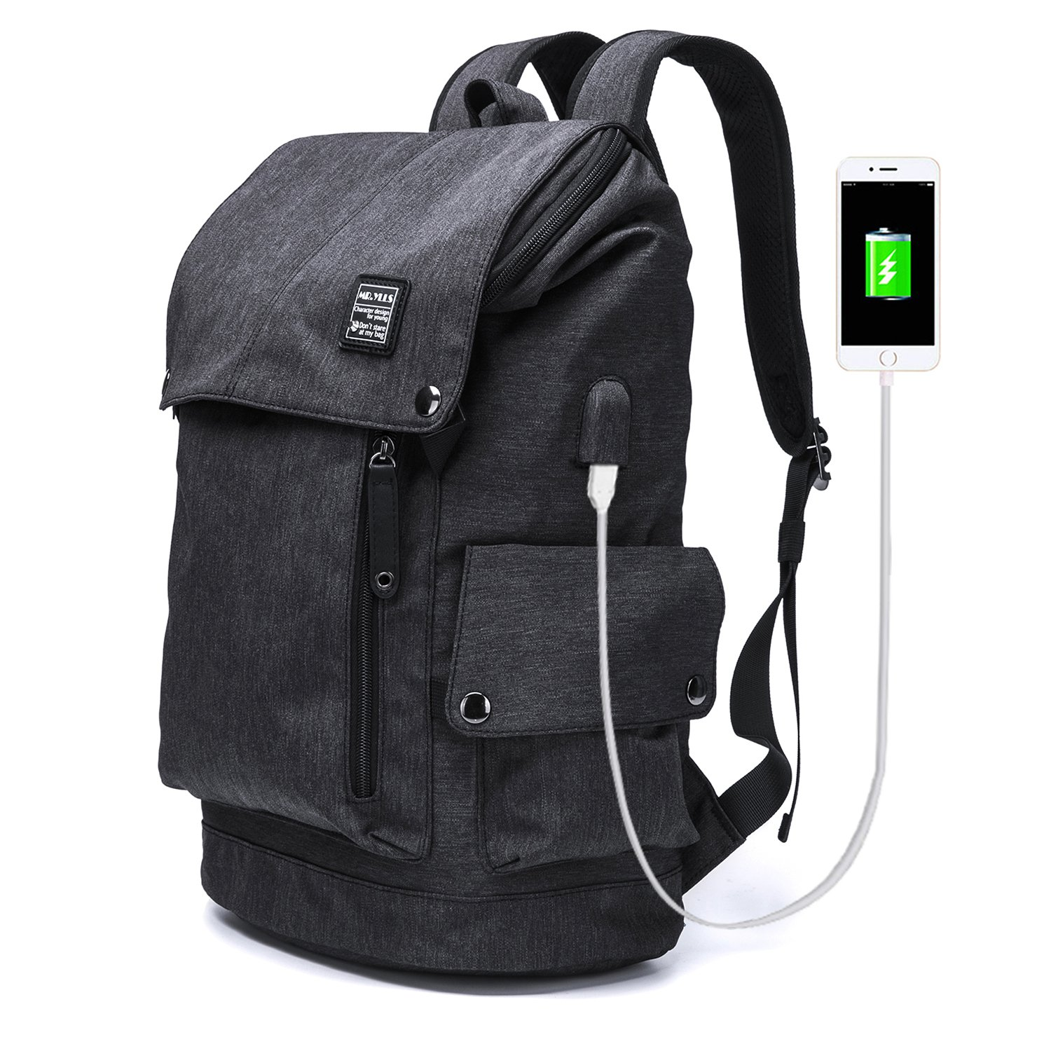 MR.YLLS Business Laptop Backpack for Men/Women Anti theft Tear/water Resistant Travel bag School/College Backpack fits up to 15.6 Inch Notebook Computer USB Charging Backpack (Black) factory Outlet MR.YLLS -B007