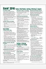 Microsoft Excel 2016 Tables, PivotTables, Sorting, Filtering & Inquire Quick Reference Guide - Windows Version (Cheat Sheet of Instructions, Tips & Shortcuts - Laminated Card) Pamphlet