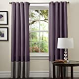 Lush Decor Prima Window Curtain Panel Pair, 84 inch x 54 inch, Gray/Purple, Set of 2