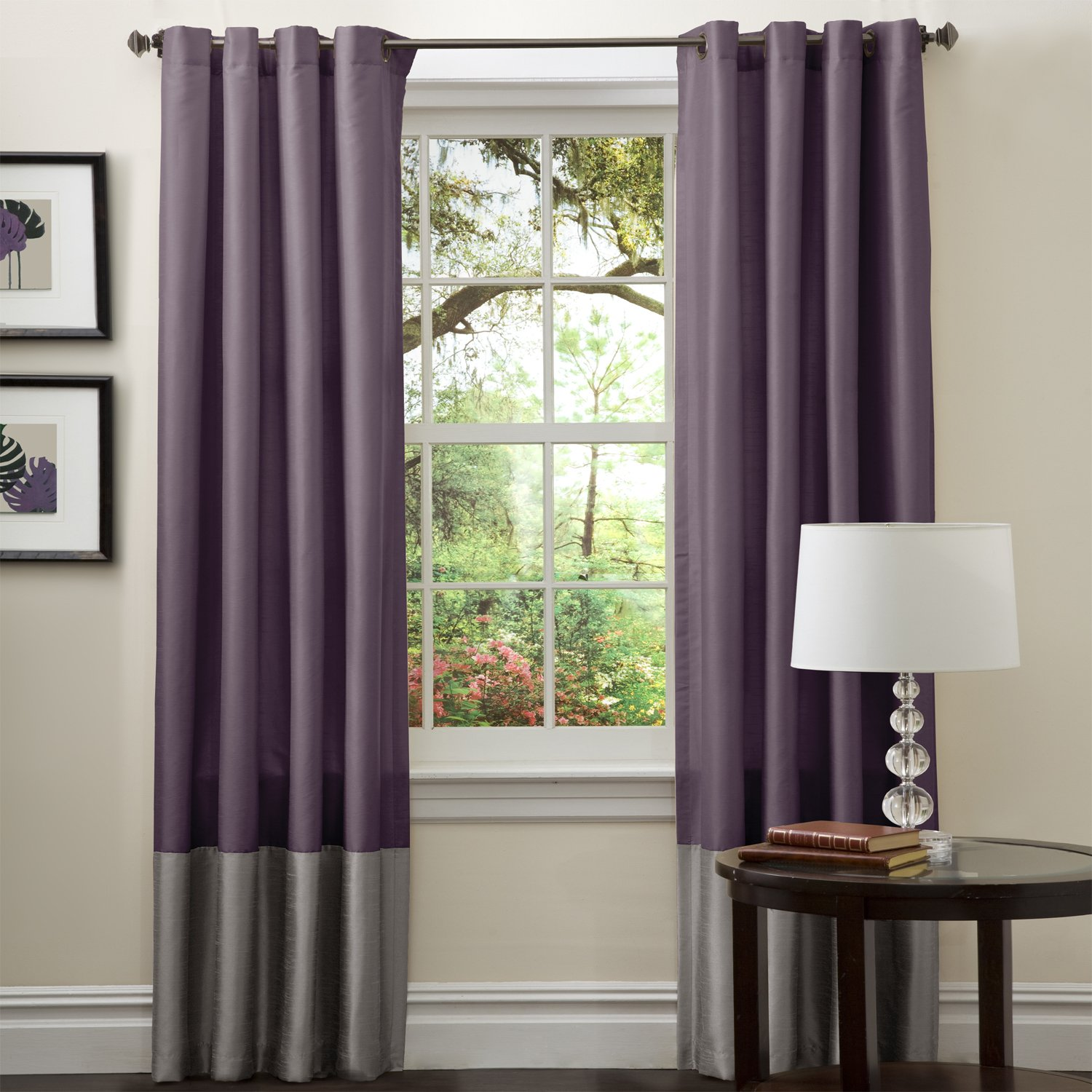 Lush Decor Prima Window Curtain Panel Pair Gray/Purple