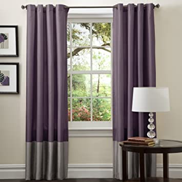 Amazon Lush Decor Prima Window Curtain Panel Pair 84 Inch X 54 Gray Purple Set Of 2 Home Kitchen