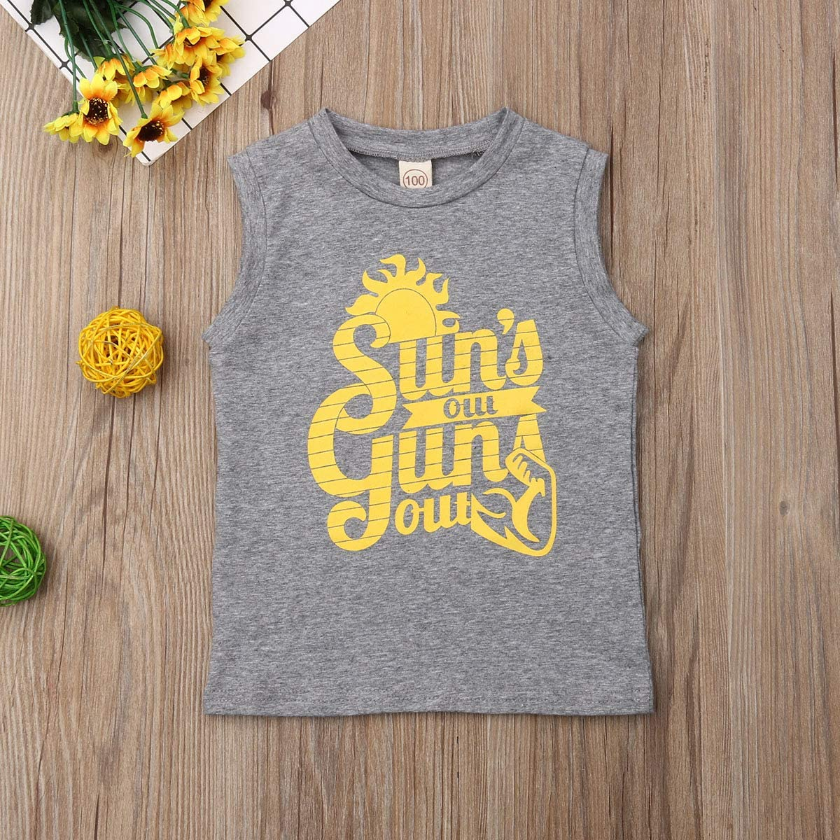 goowrom Toddler Baby Boy Letters Printed Sleeveless Vest Top Undershirt Tees Tank T-Shirts Outfits Summer Clothes