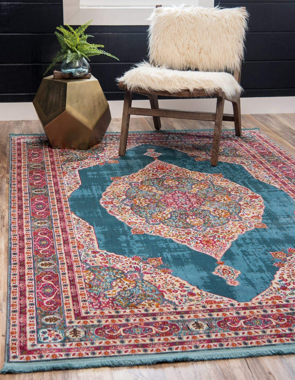 Unique Loom Baracoa Collection Bright Tones Vintage Traditional Turquoise Area Rug 10 0 x 13 0