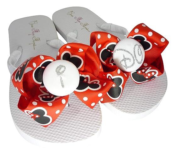 c69359470bea78 Amazon.com  Silver Glitter I DO Button Minnie Mouse Glitter Bow Flip Flops  for the Bride  Handmade