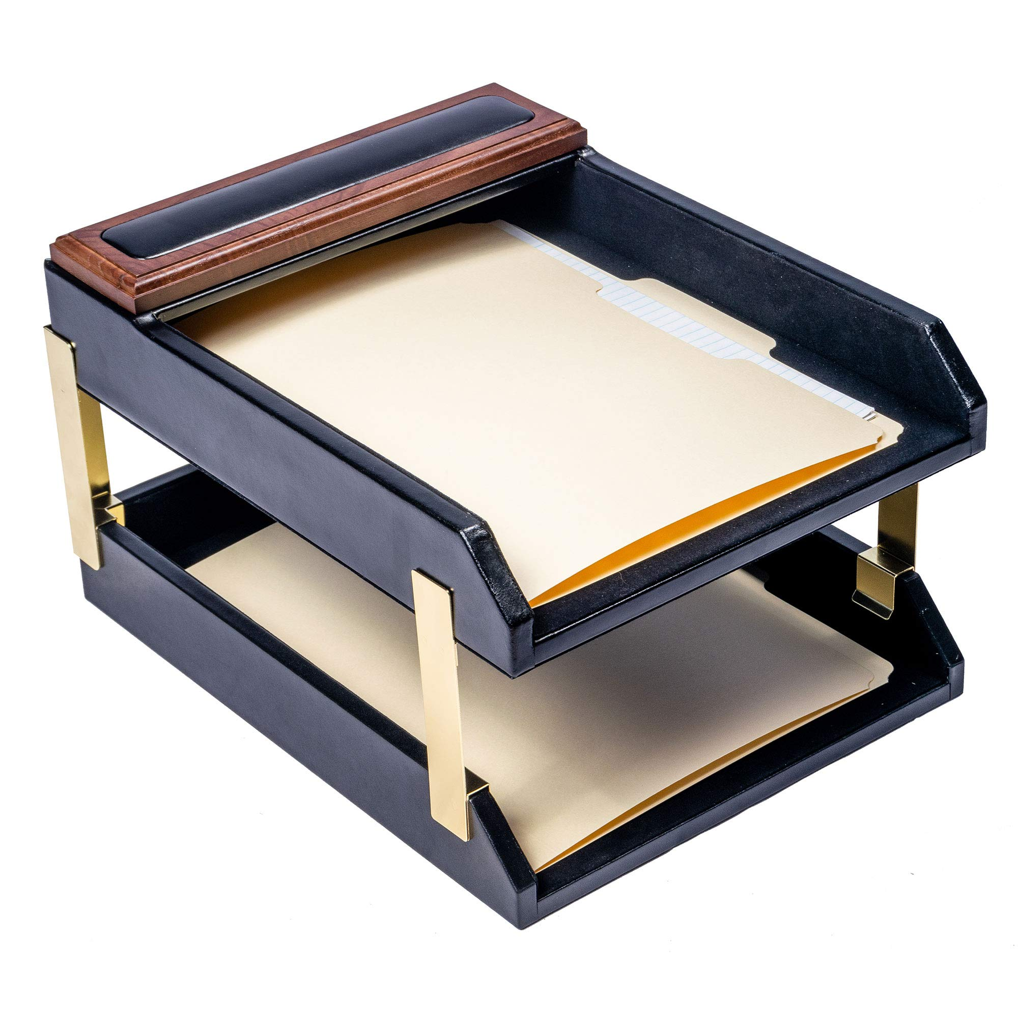 Dacasso Walnut & Leather Double Letter Trays (A8420) by Dacasso