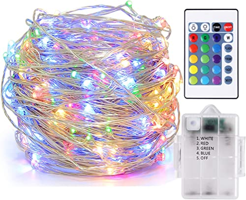 Attuosun LED String Lights Waterproof 16.4ft 5m 50leds Battery Powered,16 Colors Changing Fairy Lights with Timer Function,Wireless Remote Control Decorative Copper Wire Lights for Indoor and Outdoor