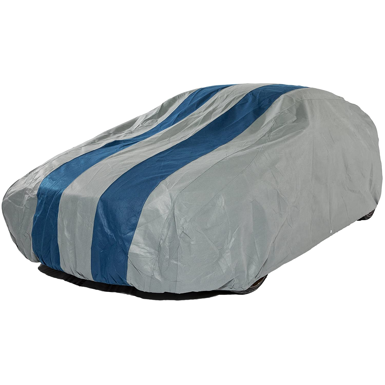Fits Hatchbacks up to 13 ft. 5 in. L 1 Pack Duck Covers A4HB161 Rally X Defender Grey with Navy Blue Rally Stripes 161L x 59W x 51H Hatchback Cover