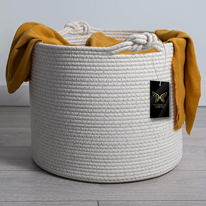 Round Natural Woven Basket with Fur Ball KIKOM Natural Woven Cotton Rope Basket L-Grey Laundry Basket,Blanket Basket,Woven Storage Basket,Children /& Pet Toy Storage Basket