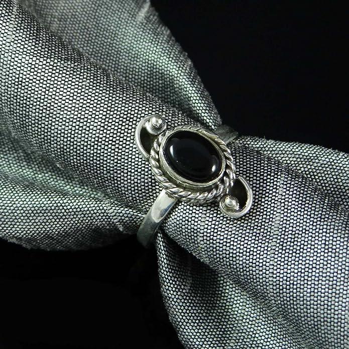 04b19878e3b9 925 plata pura nuevo regalo bisutería indio marca anillo de piedras  preciosas de ónix para ella  Amazon.es  Joyería