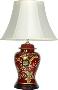 "Oriental Furniture 22.5"" Golden Foliage Porcelain Lamp"