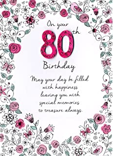 Female Age 80th Birthday Pretty Hand Finished 80 Today Greeting Card