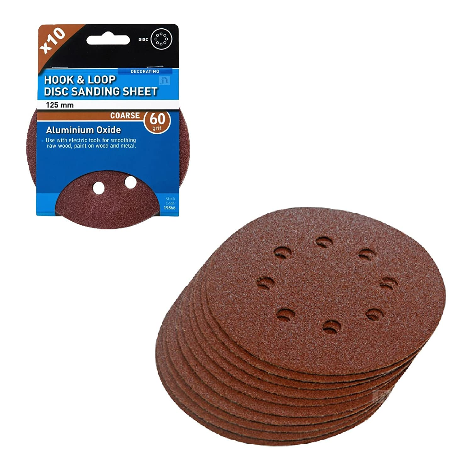 10 x Hook and Loop 125mm Sanding Disc 60 Grit Palm Sander Orbital Circular Pads Home.smart