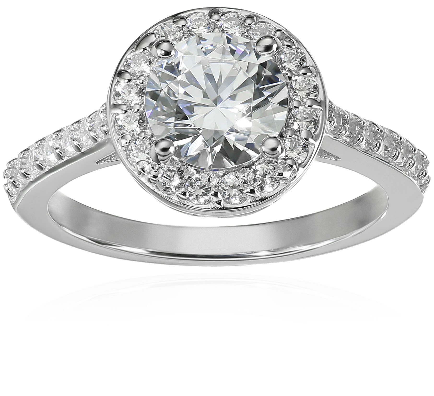 Platinum-Plated Sterling Silver Round-Cut Halo Ring made with Swarovski Zirconia, Size 7 by Amazon Collection