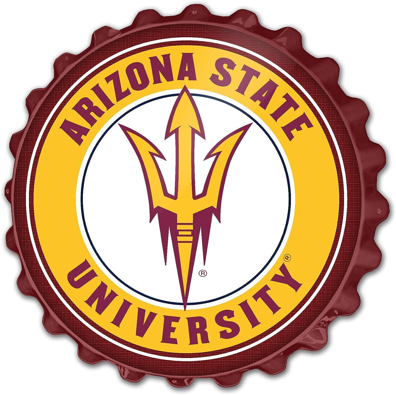 Arizona State Sun Devils Maroon Trident Logo Disc Pendant in Sterling Silver