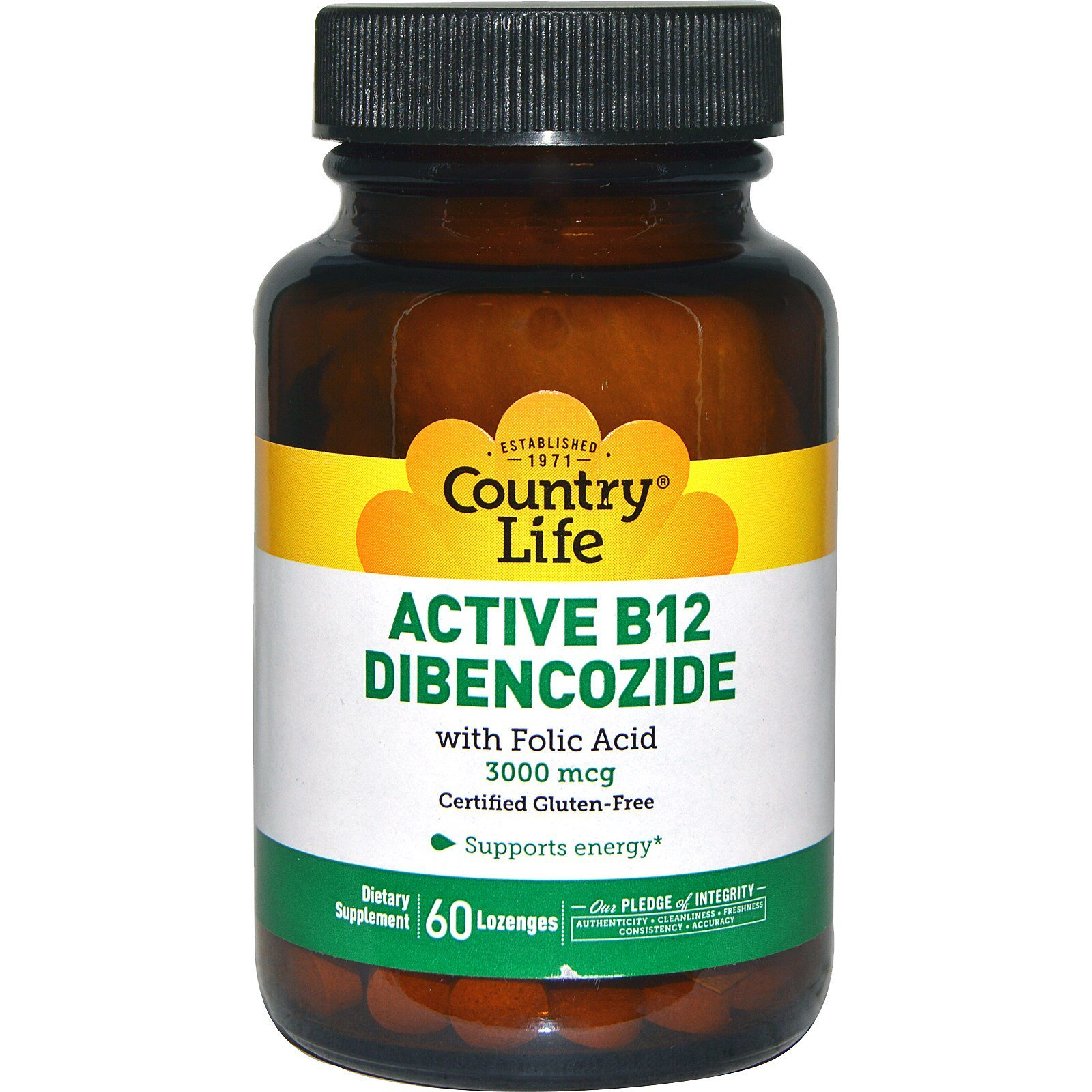 Country Life, Active B12 Dibencozide, 3000 mcg, 60 Lozenges