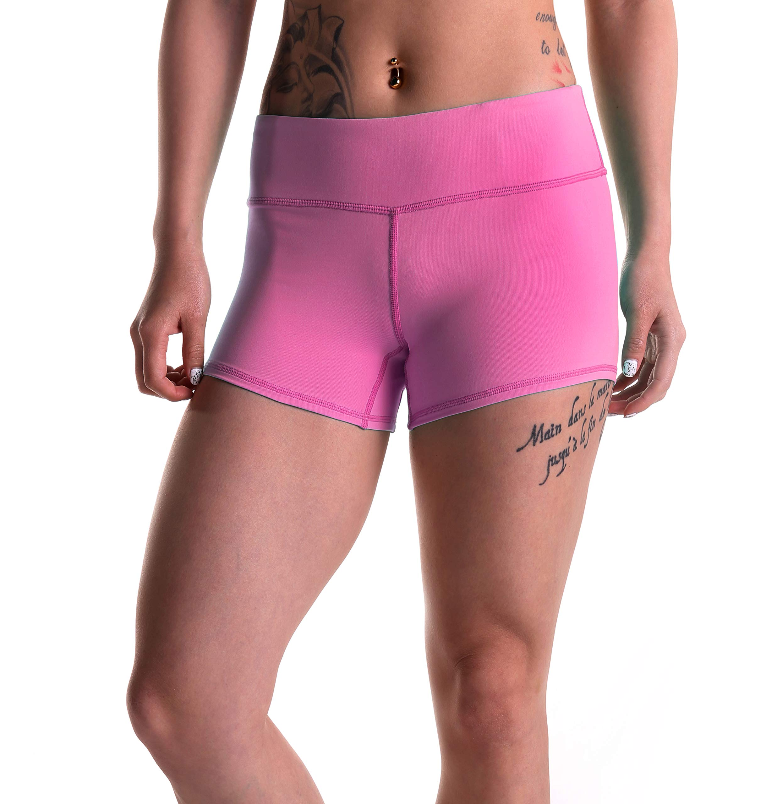 Tough Mode Womens 3'' WOD Athletic Shorts Yoga Volleyball Crossfit Running MMA Active Booty Black Red Blue Green (Small, Pink) by Tough Mode