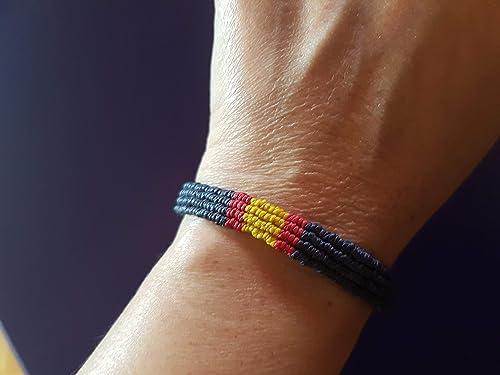 PULSERA de MACRAME Bandera España Central AZUL MARINO: Amazon.es: Handmade