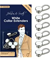 White Metal Collar Extenders by Johnson & Smith – Stretch Neck Extender for 1/2 Size Expansion of Men Dress Shirts, 5 +1 Pack, 3/8""