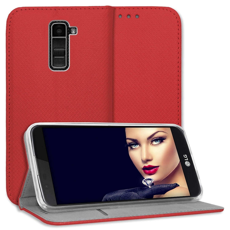 mtb more energy/® Funda Bookstyle para LG K10 cuero sint/ético | negro Carcasa Cubierta Estuche Car/átula K420N, 5.3