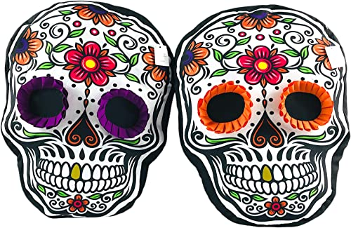 Gerson International Halloween Decorative Throw Pillows D a de Los Muertos Day of The Dead Colorful Sugar Skulls Design Orange