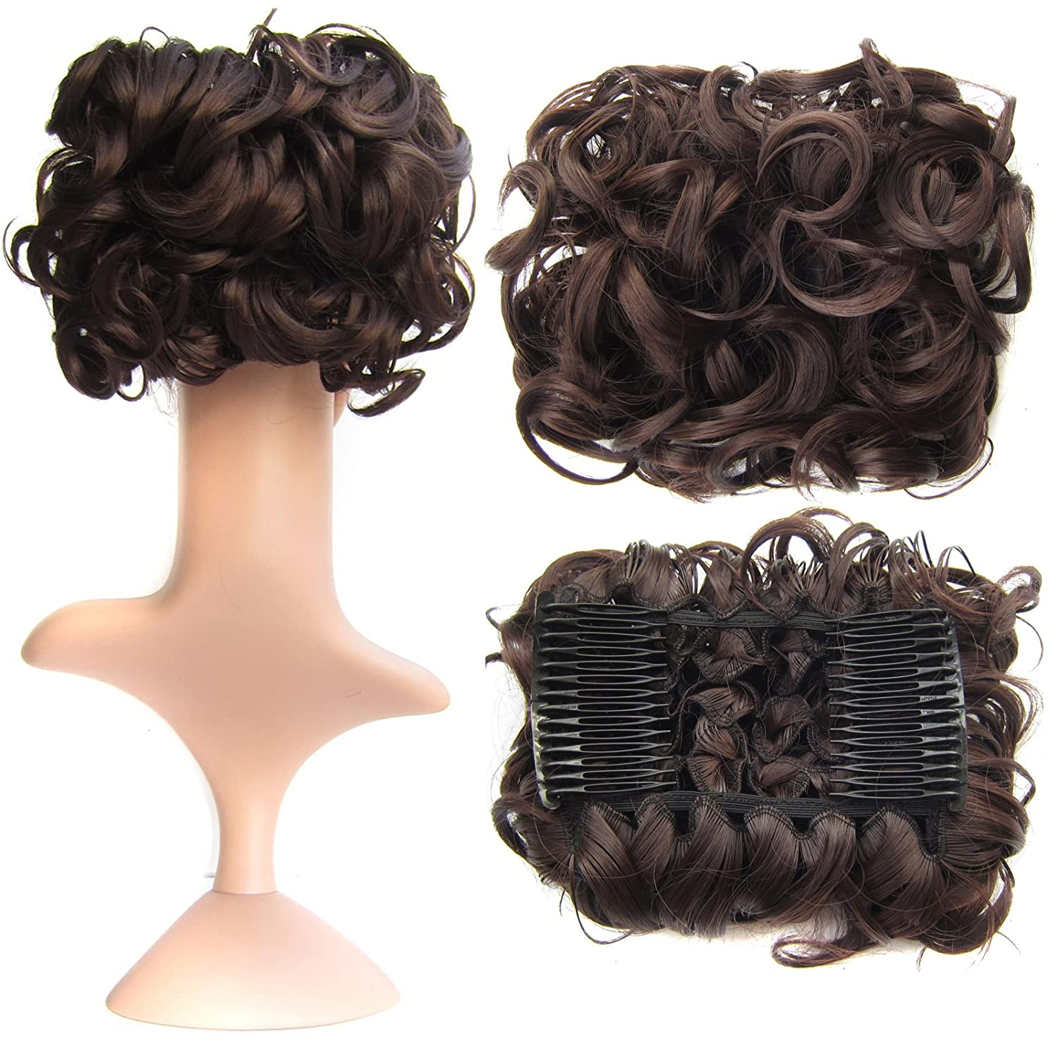 SWACC Short Messy Curly Dish Hair Bun Extension Easy Stretch hair Combs Clip in Ponytail Extension Scrunchie Chignon Tray Ponytail Hairpieces (Medium Ash Brown-8#) No Model