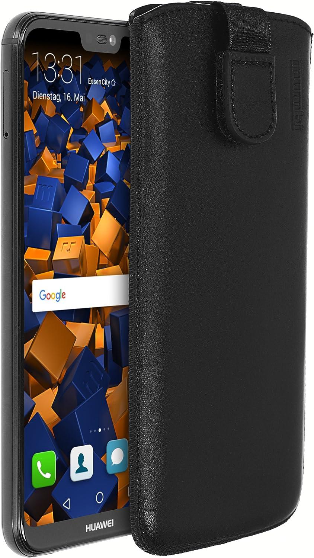 Mumbi Echt Ledertasche Kompatibel Mit Huawei P20 Lite Hülle Leder Tasche Case Wallet Schwarz Elektronik