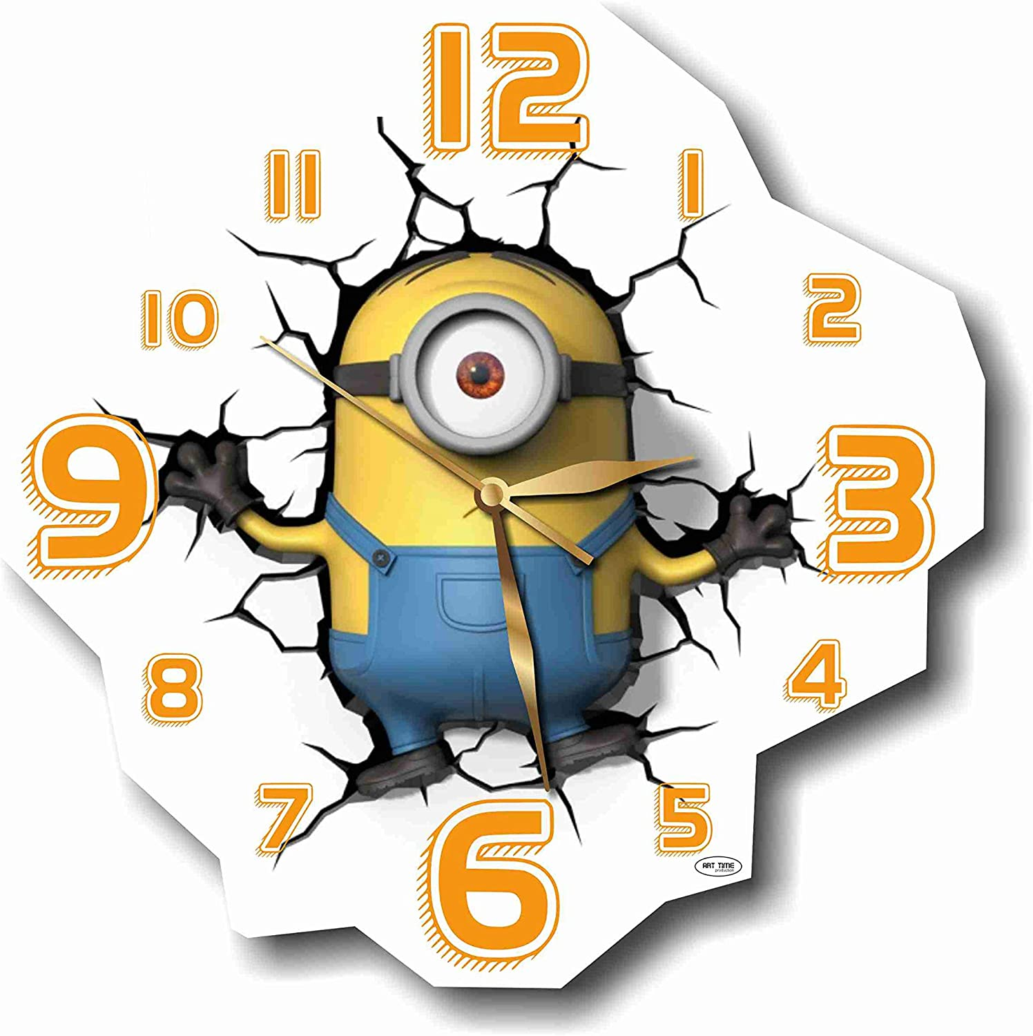 ART TIME PRODUCTION Minions - Stuart 11'' Handmade Wall Clock - Get Unique décor for Home or Office – Best Gift Ideas for Kids, Friends, Parents and Your Soul Mates