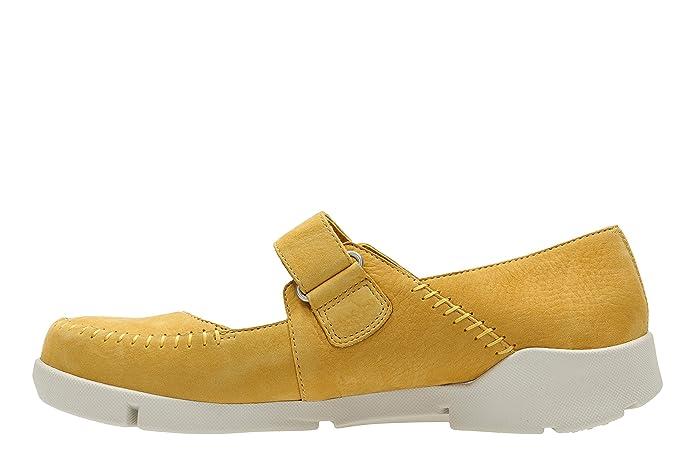 Clarks Tri Amanda Zapatos de Cordones de Piel para Mujer Amarillo Amarillo