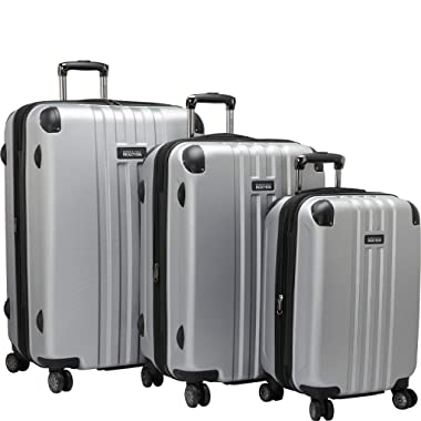 Kenneth Cole Reaction Reverb Hardside 8-Wheel 3-Piece Spinner Luggage Set: 20  Carry-on, 25 , 29 , Light Silver