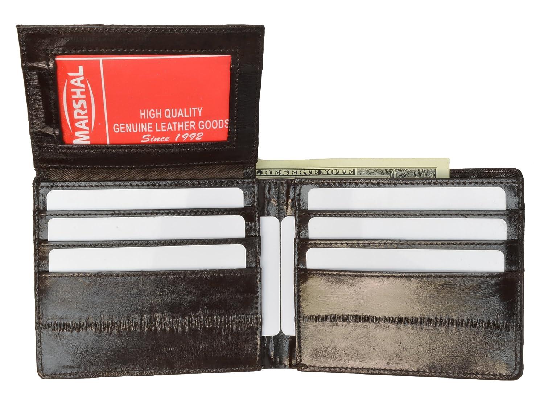 100% Genuine EEl Skin Bi-fold Mens Wallet Brown #E316 Marshal