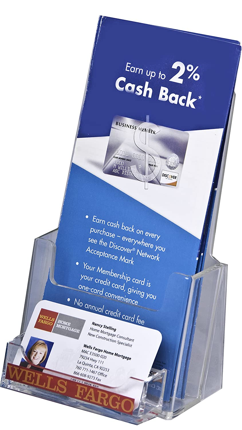 Amazon Clear Ad LHF P100 Tri Fold Brochure Holder with Business Card Pocket Pack of 6 fice Products