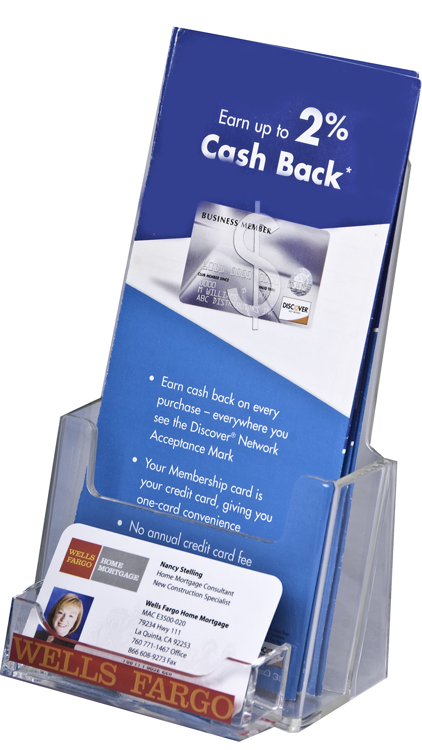 Clear-Ad - LHF-P100 - Tri-Fold Brochure Holder with Business Card Pocket Wholesale (Pack of 60)