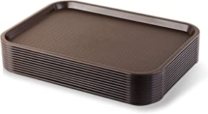 New Star Foodservice 24579 Brown Plastic Fast Food Tray, 12 by 16-Inch, Set of 12