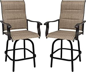 Outdoor Bar Stool Height Patio Chairs, Patio Swivel Bar Stools with Cotton, Height Bar Chairs with High Back, Suitable for Garden Lawn Backyard (2 Chairs)