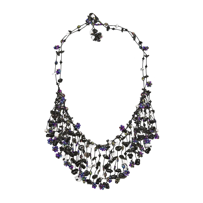 AeraVida Midnight Simulated Black Onyx Waterfall Beaded Stone Statement Necklace