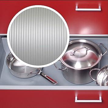 Schubladeneinlage Antirutschmatte geriffelt Küche 473mm Meterware 1,5m  Länge silbergrau