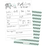 50 Elephant Advice and Prediction Cards for Baby Shower Game, New Mom & Dad Card or Mommy & Daddy To Be, For Girl or Boy…