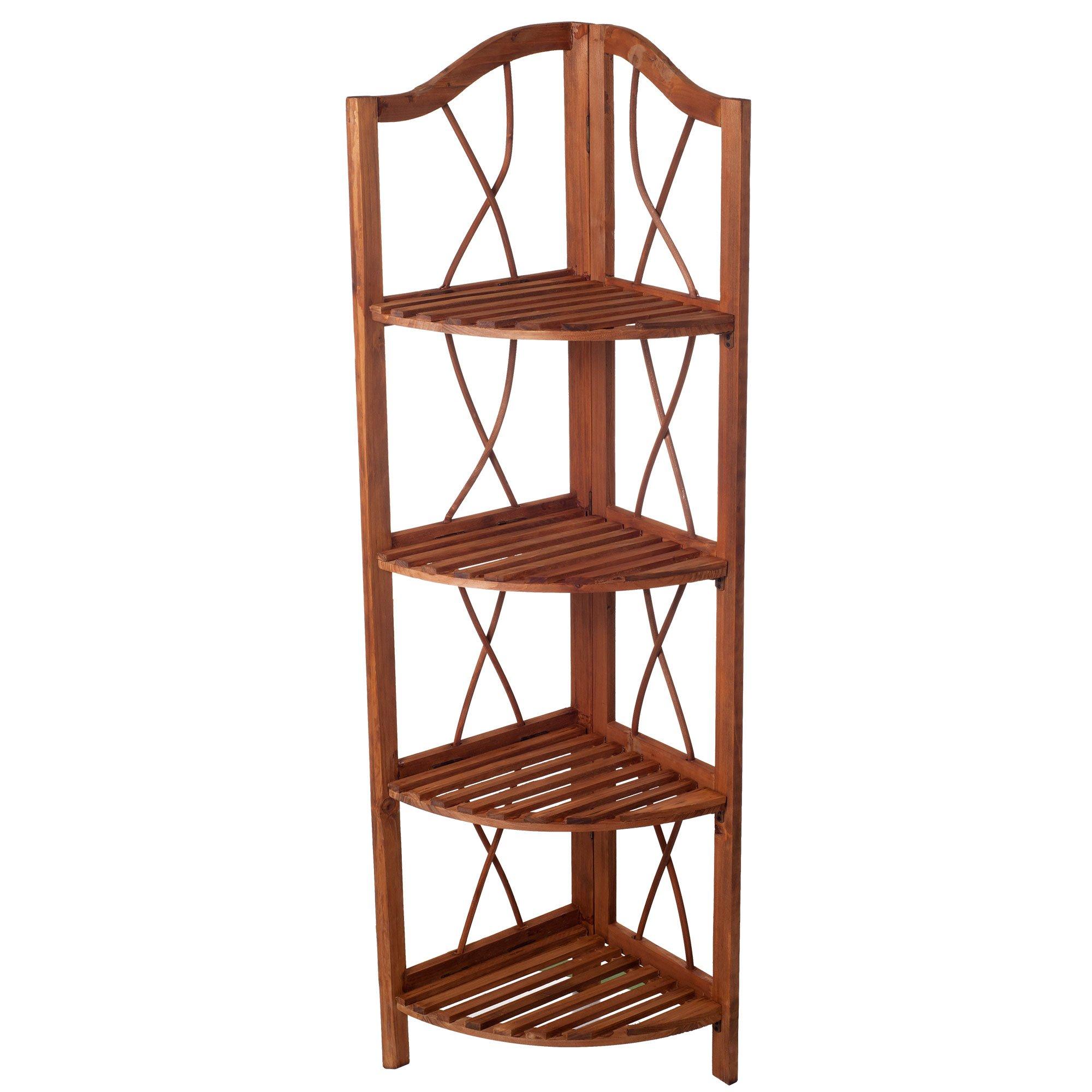 Lavish Home 4-Tier Wood Folding Corner Display Shelf