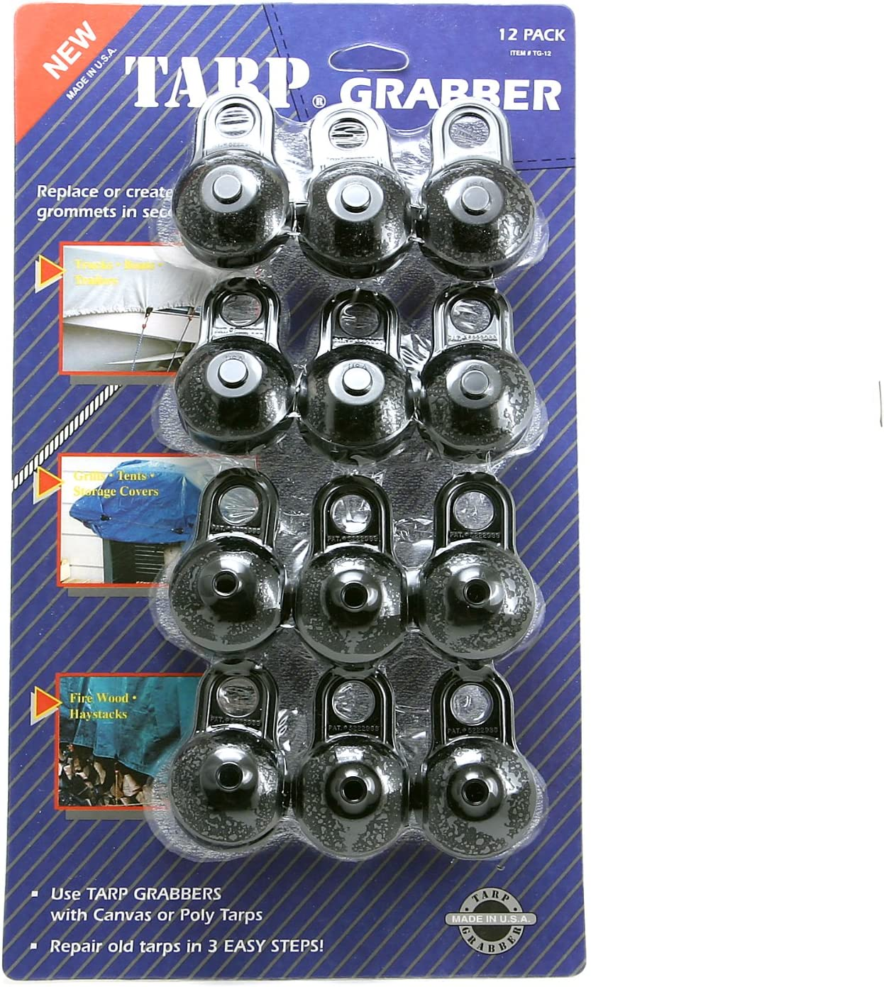 12-Pack BAC Industries Tarp Grabbers TG-12 Tarp Grabbers