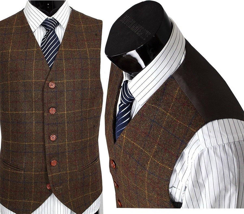 Mens Premium Wool Blend Tweed Herringbone Check Plaid 5 Buttons Waistcoat Suits Vest
