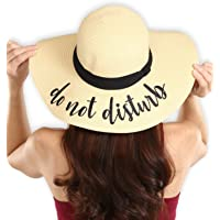 Brook + Bay Sombrero de Playa para Mujer Bordado, Sombrero de Paja de Verano, Ideal para Viajes y día Festivo, Plegable y Plegable