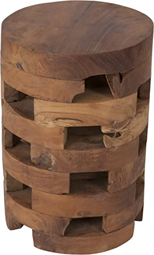 Lifewit Round Side Table End Table Industrial Coffee Table Nightstand with Storage Basket, Wood Look Accent, 18.9 18.9 23.6 in