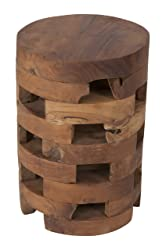 East At Main Hixson Brown Teakwood Round Accent Table, (12x12x18)