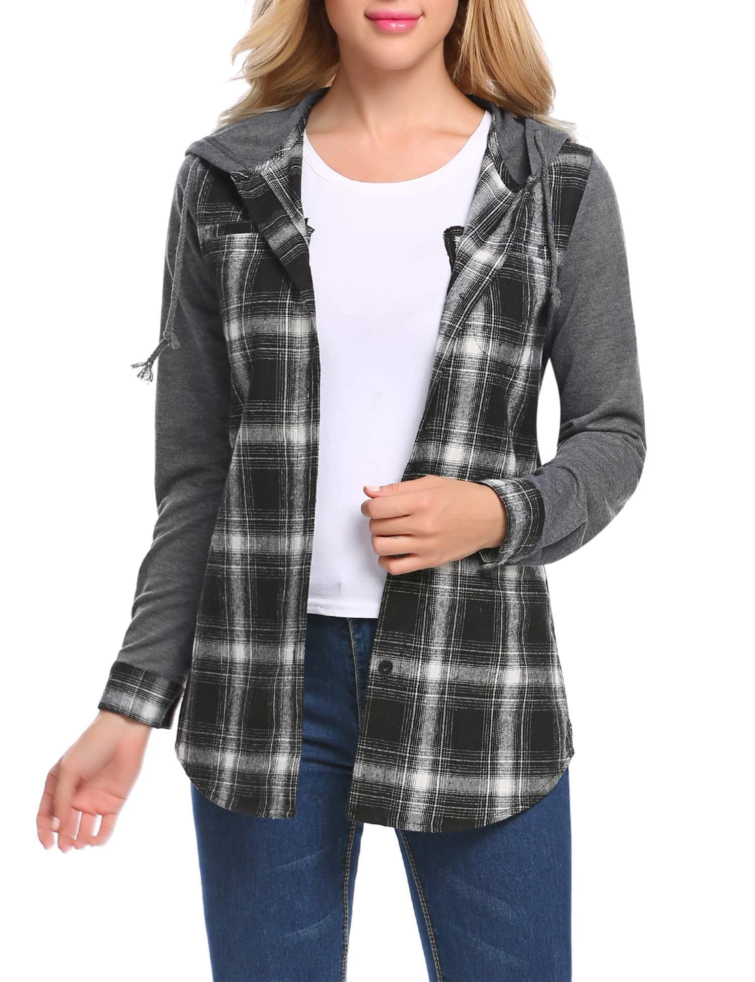 Billti Womens Casual Long Sleeve Plaid Button Hooded Shirt