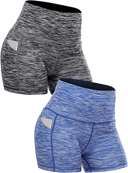 Cadmus High Waist Yoga Hot Shorts for Women Tummy Control Workout Shorts Out Pockets