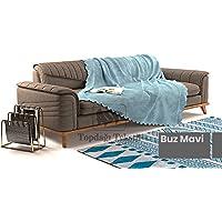 Sofa Şönil Dokuma Kaymaz Koltuk Örtüsü Şalı Takım - 12 renk seçeneği (Buz Mavi, Polyester)