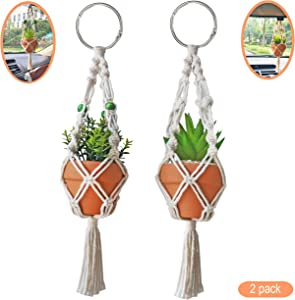 TIMECOSY Mini Macrame Plant Hanger Rear View Mirror Car Cactus Charm Decorations Boho Hanging Plant Holder, Tiny Car Succulent Gifts for Plant Lover, 10.5-Inch