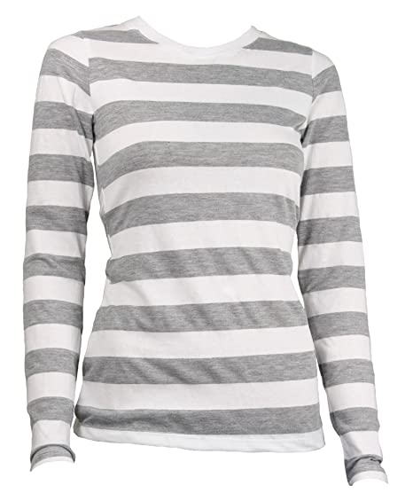 Amazon.com  Largemouth Women s Long Sleeve Striped Shirt Heather ... 72d197738eb7